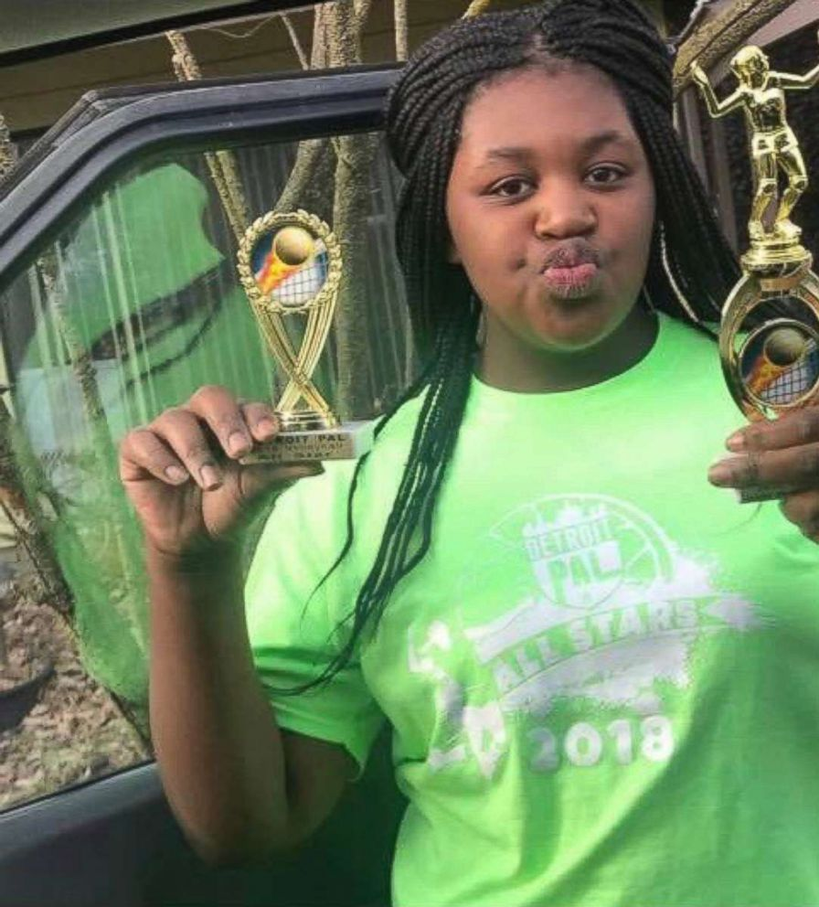 PHOTO: Timiyah Landers, 12, shows off her volleyball trophies earlier this summer. She received serious burns over 50 percent of her body after attempting the so-called fire challenge on Aug. 17. 2018.