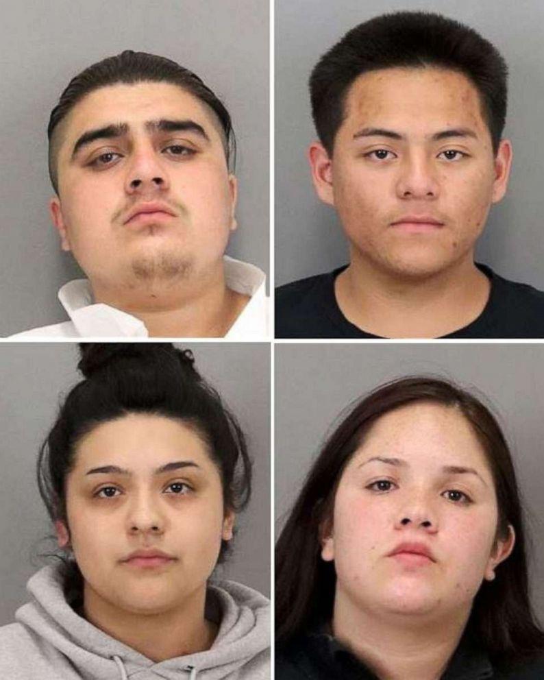 FOTO: met de klok mee vanaf linksboven: Bryan Gonzalez, 19; Jonathan Jimenez, 18; Yadira Villarreal, 19; en Lesly Portillo, 18, werden beschuldigd van het beroven van ten minste 11 mannen in San Jose, Californië, met behulp van de dating-app Tinder.