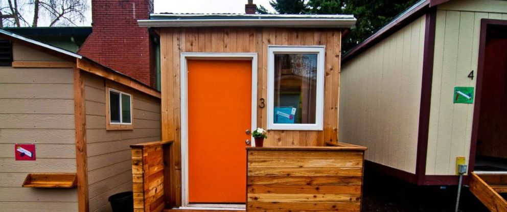 PHOTO: A tiny home built by the Women 4 Women project, which has constructed a tiny house village, to fight Seattles rising homelessness problem. The houses were exclusively for homeless women, and were built mostly by women.