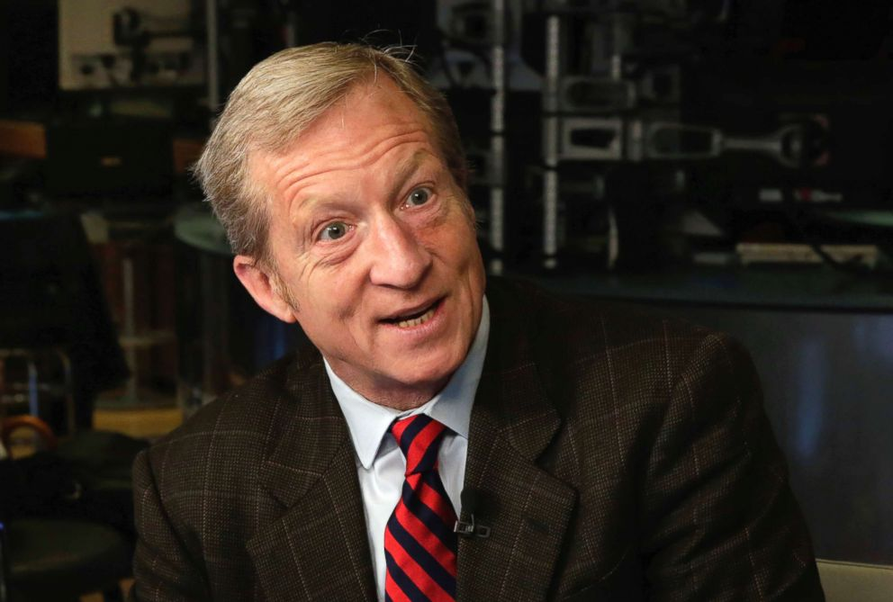 PHOTO: April 2, 2018 file photo of billionaire environmentalist Tom Steyer on the floor of the New York Stock Exchange.