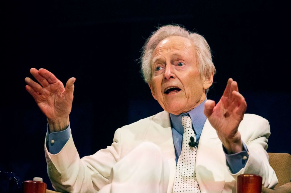 PHOTO: Author Tom Wolfe speaks during a post-screening discussion at the 10th Annual FOLCS Film Festival in New York, Oct. 27, 2015.