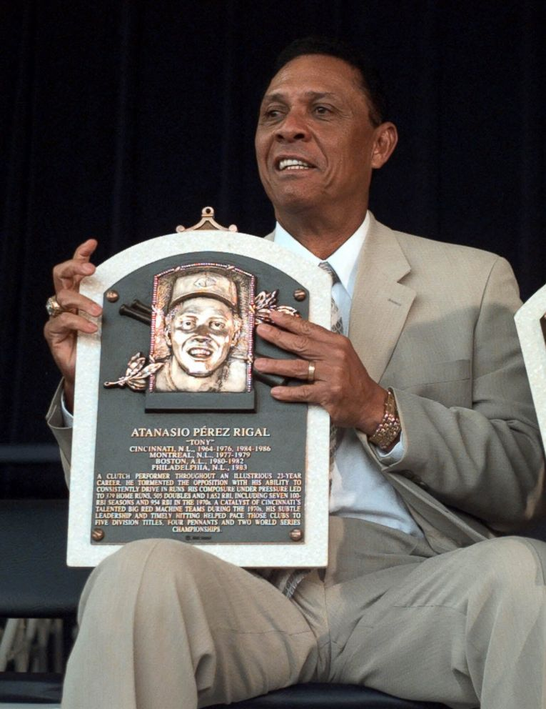 PHOTO: Former Cincinnati Reds player Tony Perez displays his plaque, after being inducted into the National Baseball Hall of Fame, during ceremonies, July 23, 2000, in Cooperstown, N.Y.