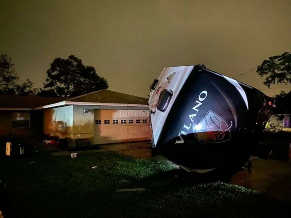 PHOTO: An RV in Polk Country, Florida, sits toppled over by Tropical Storm Nestor, Oct. 18, 2019.