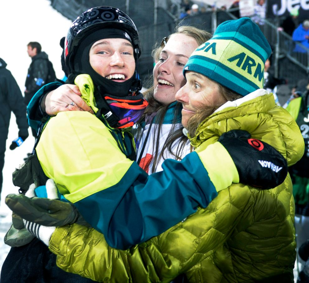 PHOTO: Yater-Wallace, 15, after winning second place in the finals of the skiing super pipe is greeted by his mother Stace Wallace (R) and his sister Saren Yater-Wallace at the bottom of the pipe, Jan. 27, 2011.