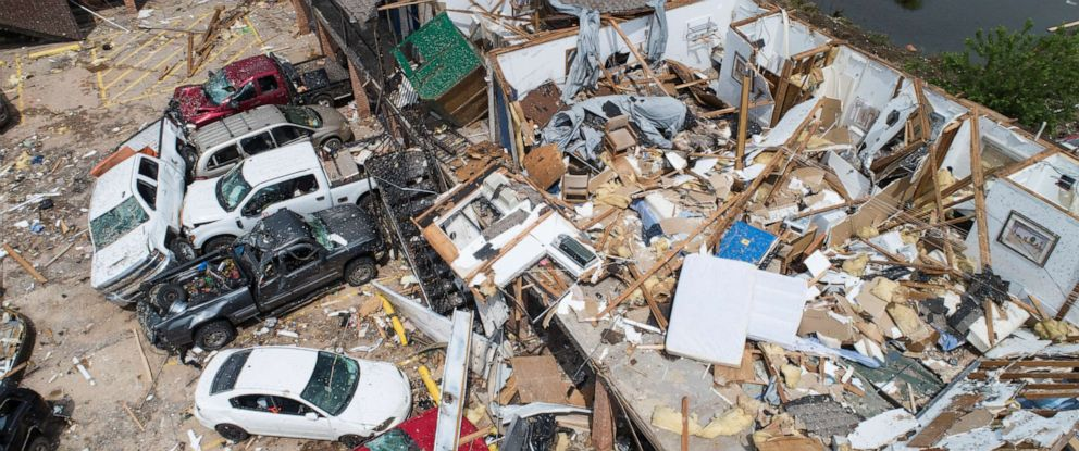 PHOTO: Damage to the American Budget Value Inn is seen in an aerial photo, May 26, 2019, after it was hit by a tornado in El Reno, Okla.