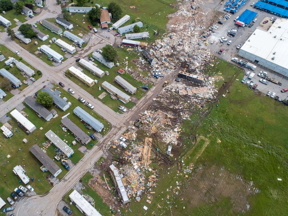 PHOTO:A path of destruction through the Skyview Mobile Park Estates is seen in an aerial photo, May 26, 2019, after it was hit by a tornado in El Reno, Okla.
