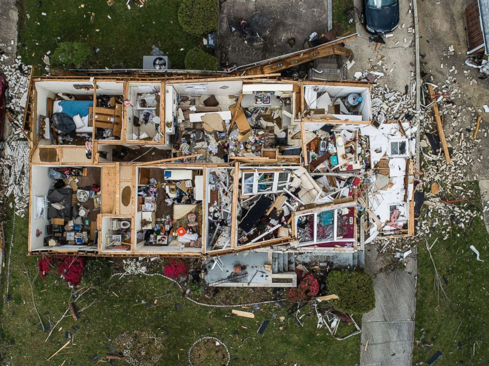 PHOTO: An aerial view of significant damage to a home in Greensboro, N.C.,April 16, 2018.