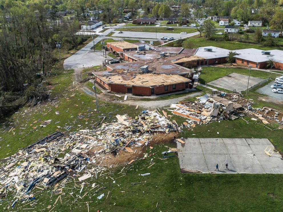 PHOTO: An aerial view of significant damage to W.M. Hampton Elementary School in Greensboro, N.C., April 16, 2018.