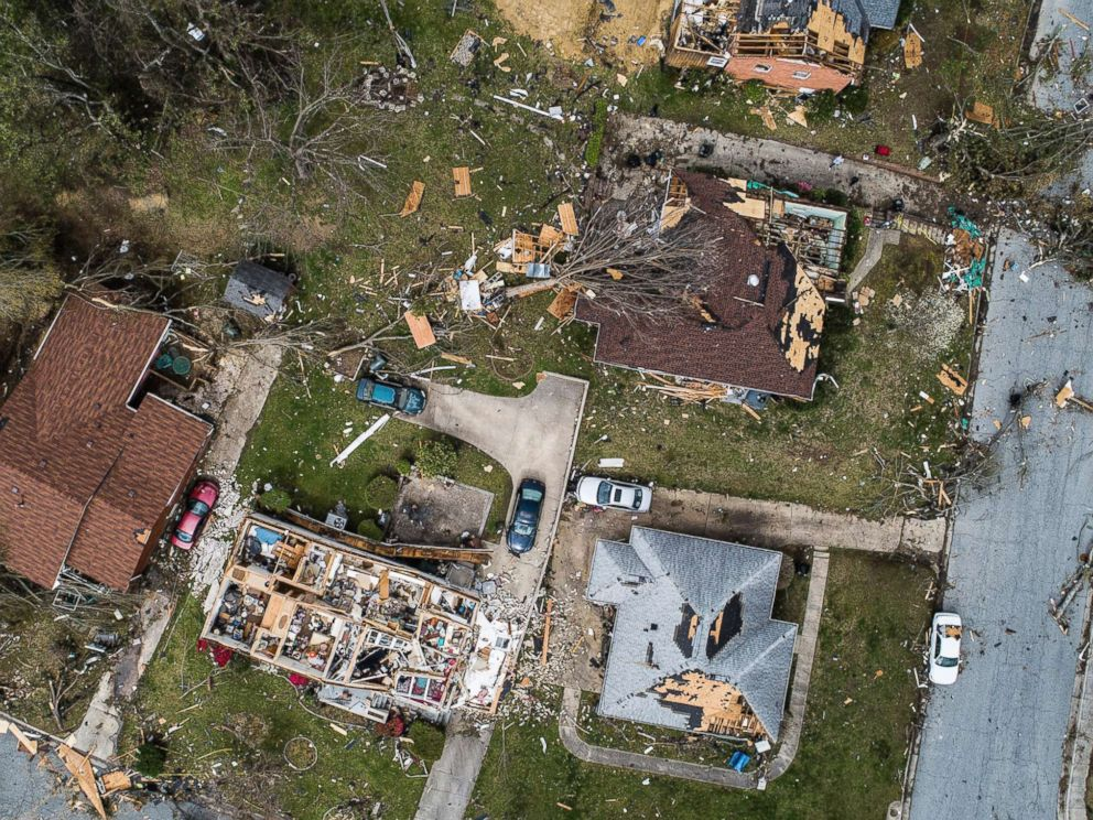 PHOTO: An aerial view of significant damage to homes in Greensboro, N.C., April 16, 2018.