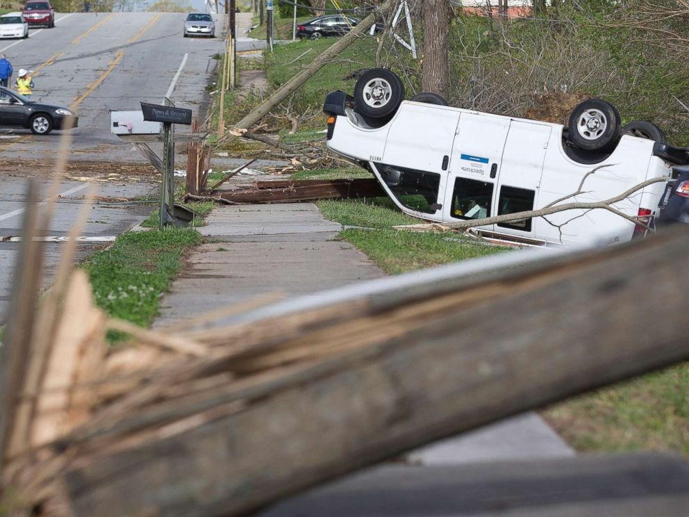 PHOTO: Damage lines Phillips Avenue the day after a tornado hit, leaving devastation throughout the eastern portion of the city, April 16, 2018, in Greensboro, N.C.