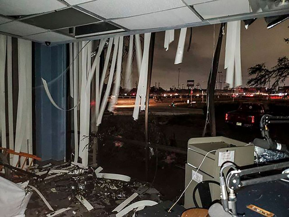 PHOTO: In this Oct. 20, 2019, photo offered by Lew Morris, damage to the Reckless Rock Radio station studio is seen after a tornado touched down in Dallas, Texas.