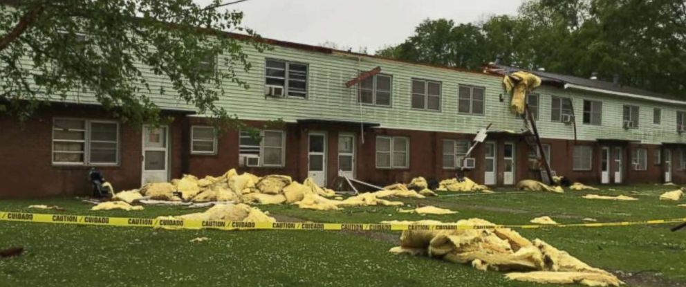 An EF-2 tornado with estimated maximum winds of 115 mph ripped a roof off an apartment complex near Meridian, Mississippi, on Saturday, April 14, 2018.