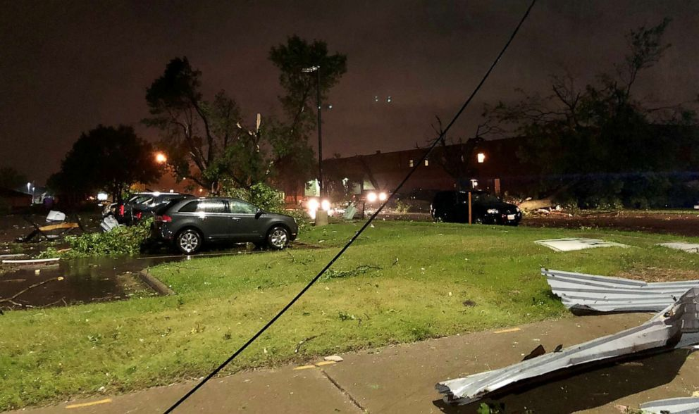 PHOTO: Damage in the aftermath of storm is seen in Sioux Falls, S.D., Sept. 11, 2019.