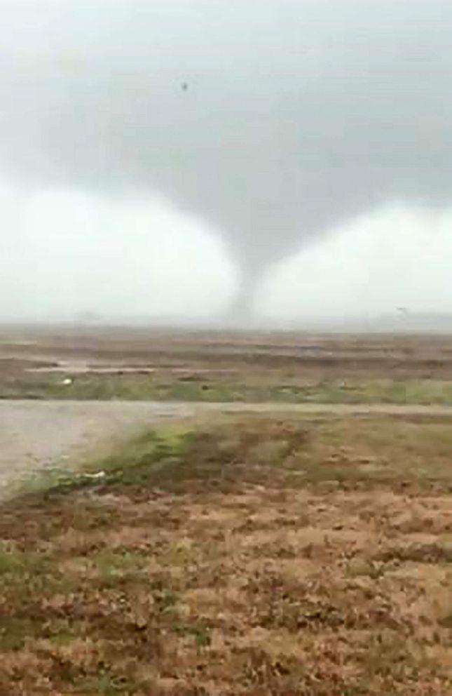 A tornado is pictured near Slovak, Ark.