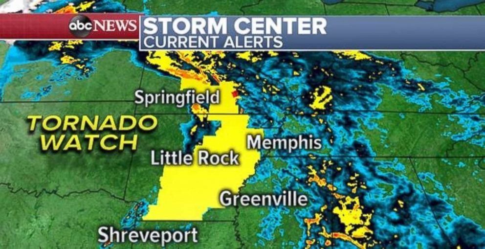 PHOTO: A tornado watch is in effect for parts of Arkansas and Missouri on Saturday morning.