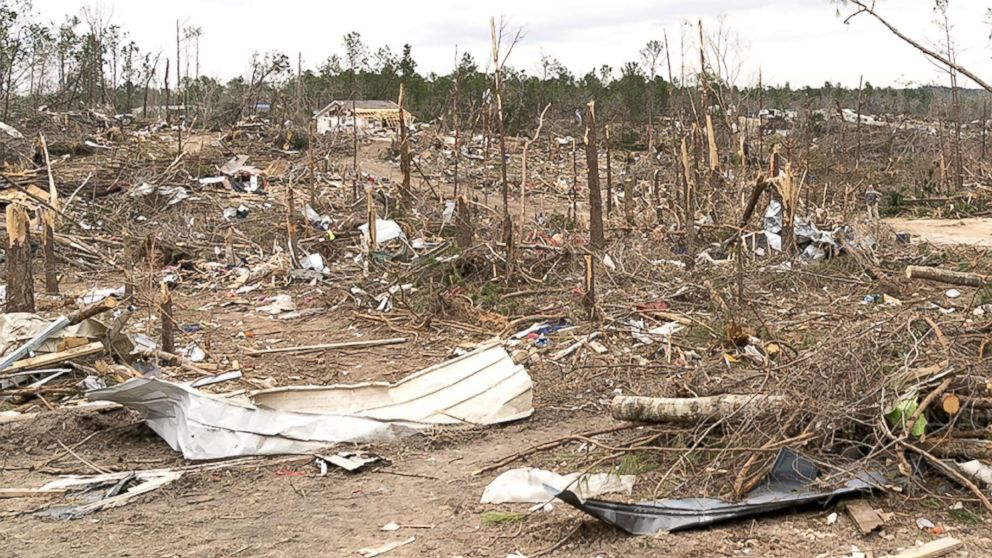 The view of the destruction caused by a massive tornado in Beauregard, Ala., March. 08, 2019.