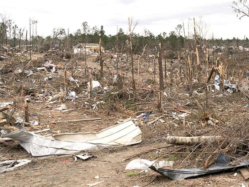 PHOTO: The view of the destruction caused by a massive tornado in Beauregard, Ala., March. 08, 2019.