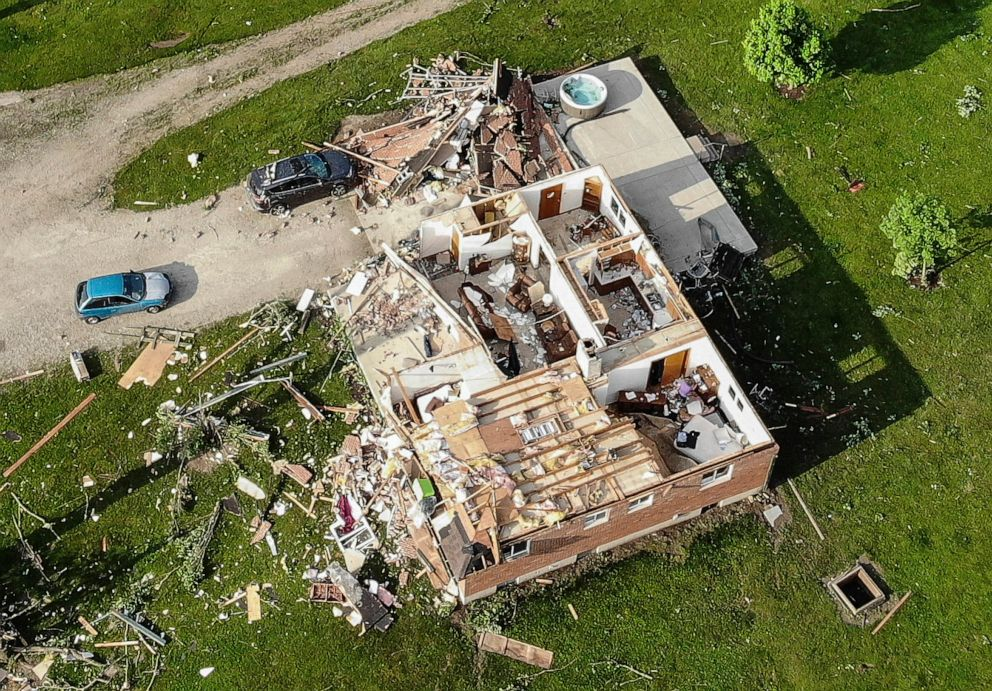 PHOTO: Storm damaged homes remain after a tornado passed through the area the previous evening, May 28, 2019, in Brookville, Ohio.
