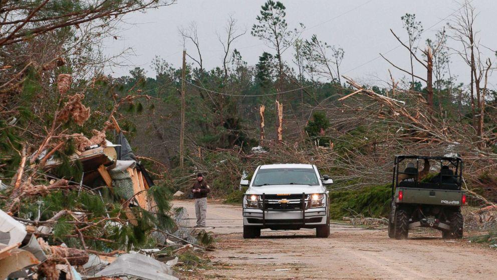 Damage from a tornado is seen as Lee county deputies secure the scene in Beauregard, Ala., March 4, 2019.