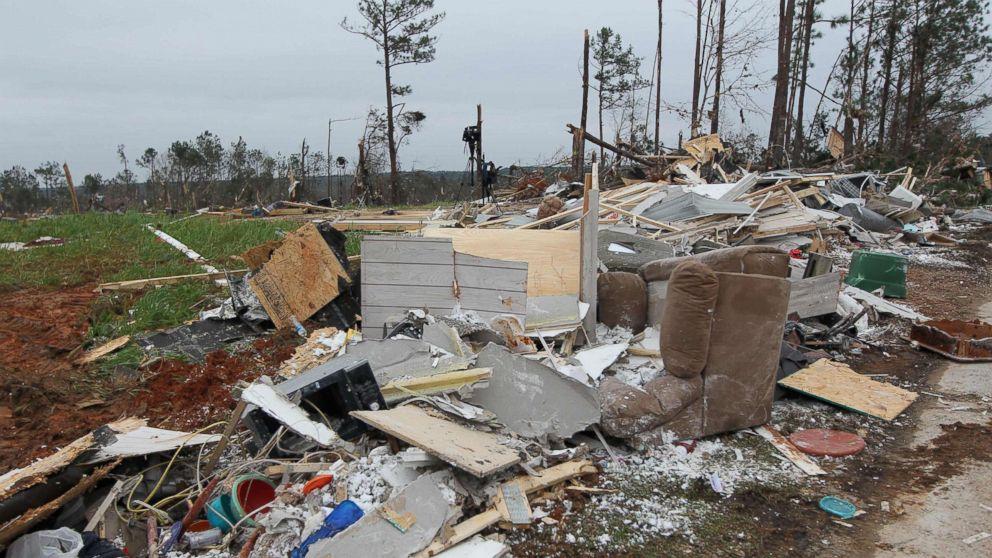 Damage is seen from a tornado in Beauregard, Ala., March 4, 2019.