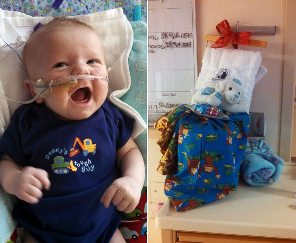 PHOTO: Caiden Avriett is pictured in the newborn intensive care unit with toys donated for him at Sacred Heart Childrens Hospital in Spokane, Wash., in 2015.