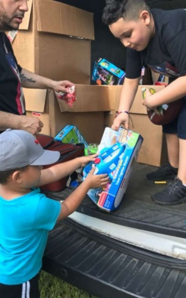 PHOTO: Jayden Perez, 8, a third-grader in Woodland Park, New Jersey, traveled with his parents to Puerto Rico Jan. 18-22 to hand out donated toys and money.