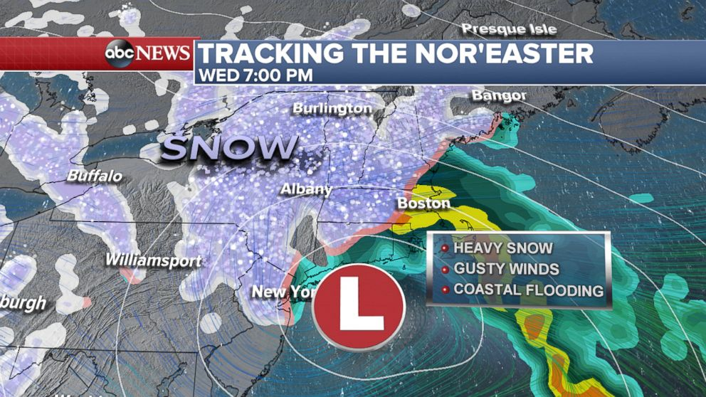PHOTO: Tracking the noreaster, Wednesday at 7pm.