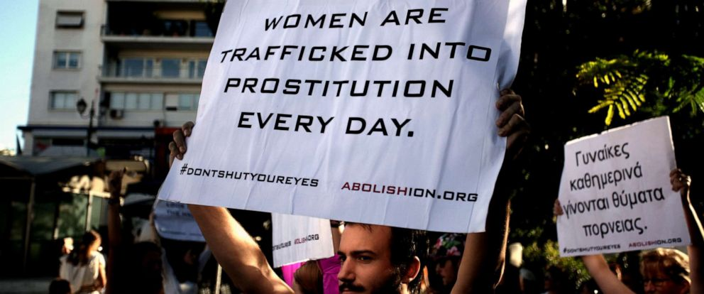 PHOTO: Street performance by Abolishion team to raise awareness of human trafficking and sexual slavery, Athens, Greece, Sep 20, 2016.
