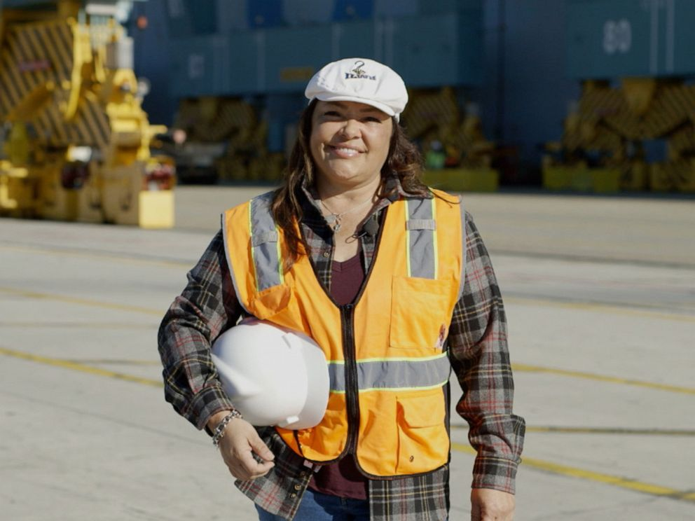 PHOTO: Maria Adame is one of few women working as a longshoreman for the Port of Long Beach and Port of Los Angeles in California.