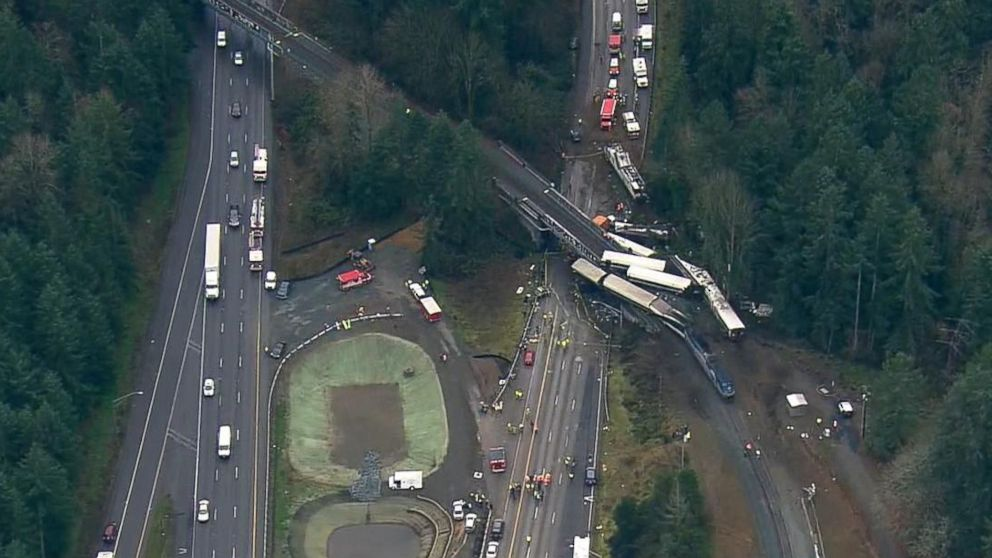 An aerial image made from video shows the scene of the Amtrak Cascades 501 train derailment at I5 south of Tacoma in Washington state, Dec. 18, 2017.