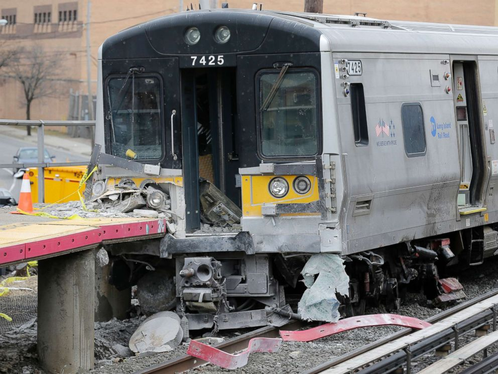 PHOTO: A train that derailed after striking a vehicle is seen in Westbury, N.Y., Feb. 27, 2019. Two commuter trains traveling in opposite directions collided with a vehicle on the tracks in Westbury, killing all three occupants.