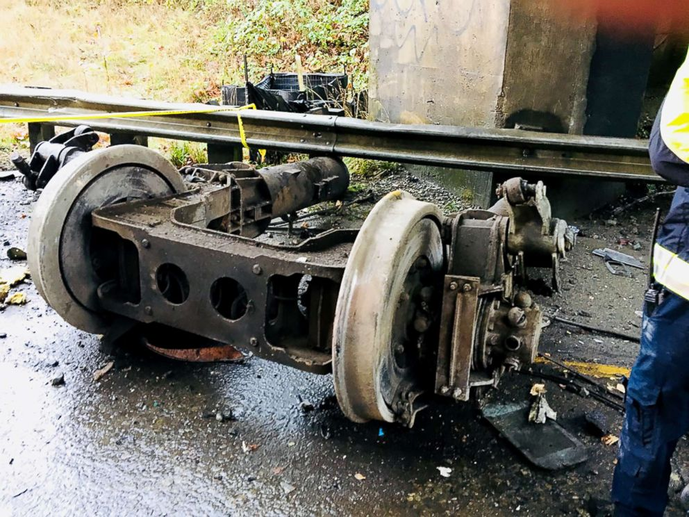 PHOTO: Wreckage lies at the scene of a train derailment in Washington state, Dec. 18, 2017.