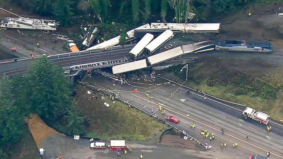 An aerial shot captures the wreckage of a train derailment in Washington state, Dec.18, 2017.