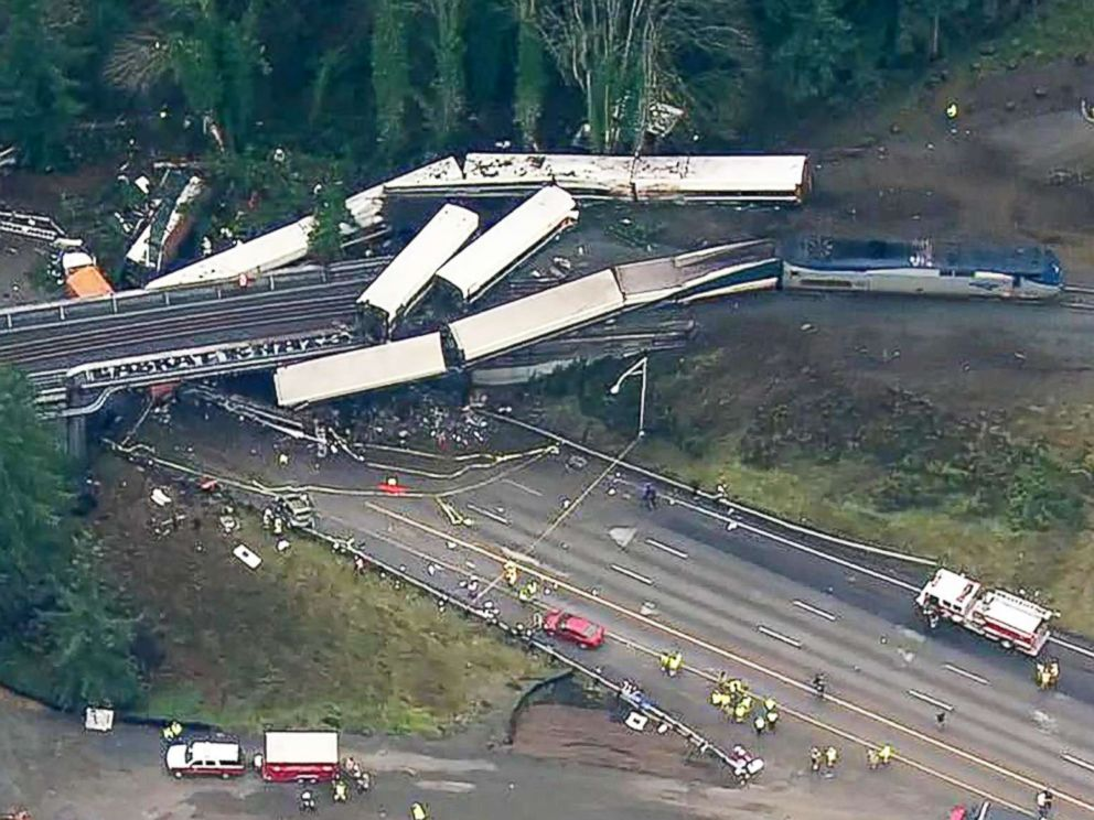 PHOTO: An aerial shot captures the wreckage of a train derailment in Washington state, Dec.18, 2017.