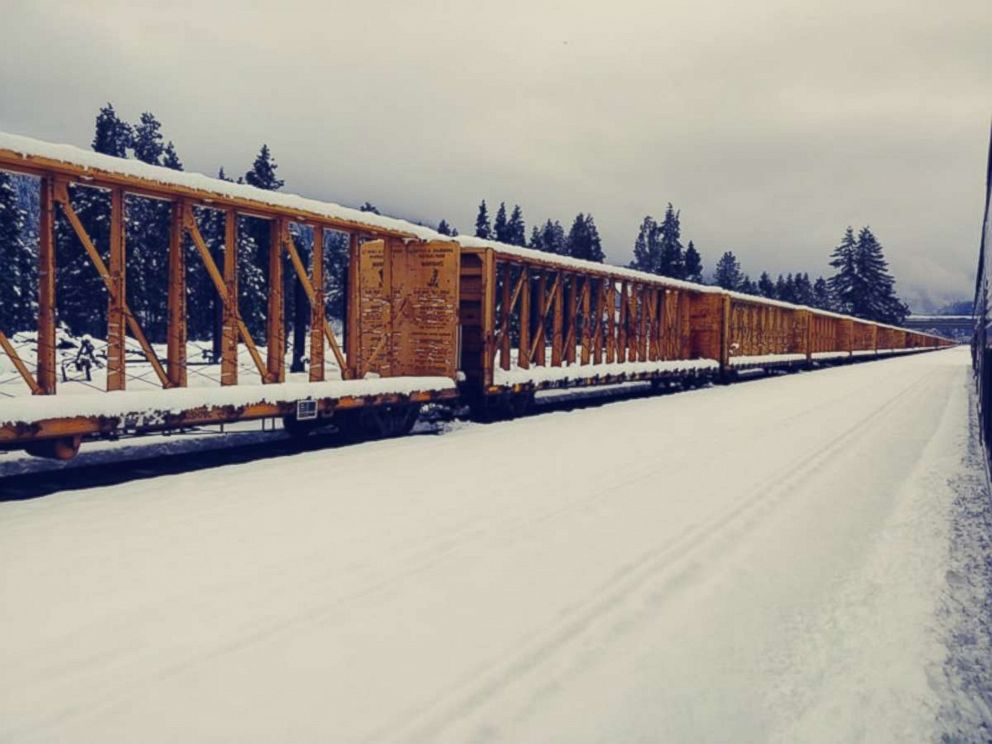 PHOTO: Passengers aboard a stranded Amtrak train near Oakridge, Ore., Feb. 25, 2019.