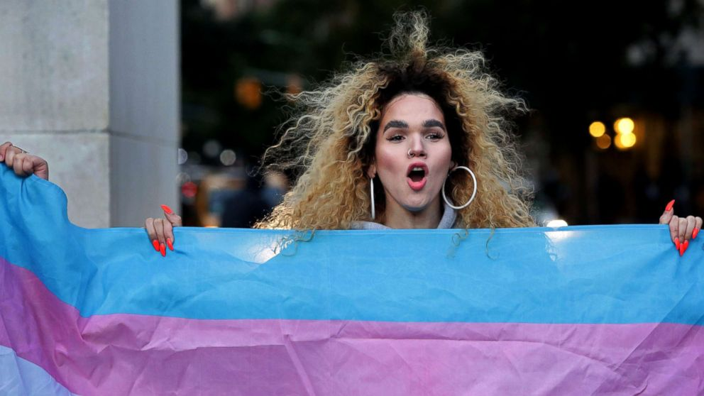 Morgin Dupont, 25, a woman of trans experience, holds up the flag for Transgender and Gender Noncomforming people at a rally for LGBTQI+ rights at Washington Square Park on October 21, 2018 in New York City.
