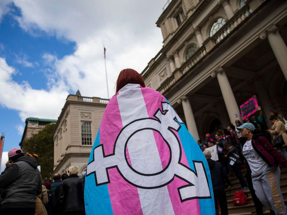 PHOTO: LGBT activists and their supporters rally in support of transgender people on the steps of New York City Hall, Oct. 24, 2018 in New York City.