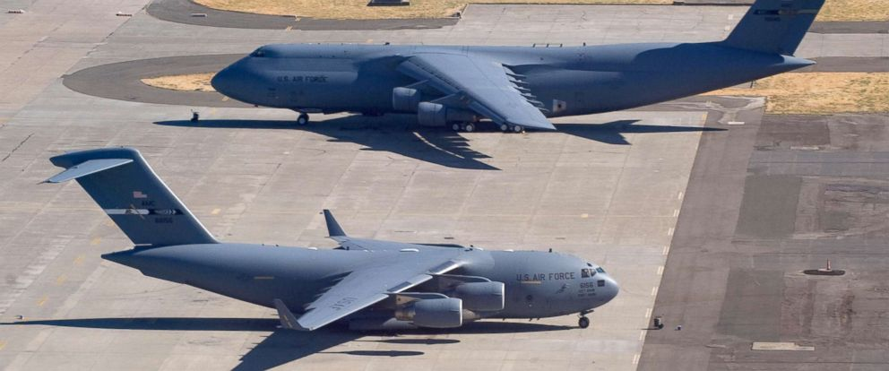 PHOTO: A US Air Force C-5 Galaxy and a C-17 Globemaster sit on the tarmac at Travis Air Force Base in Fairfield, California, July 17, 2008.