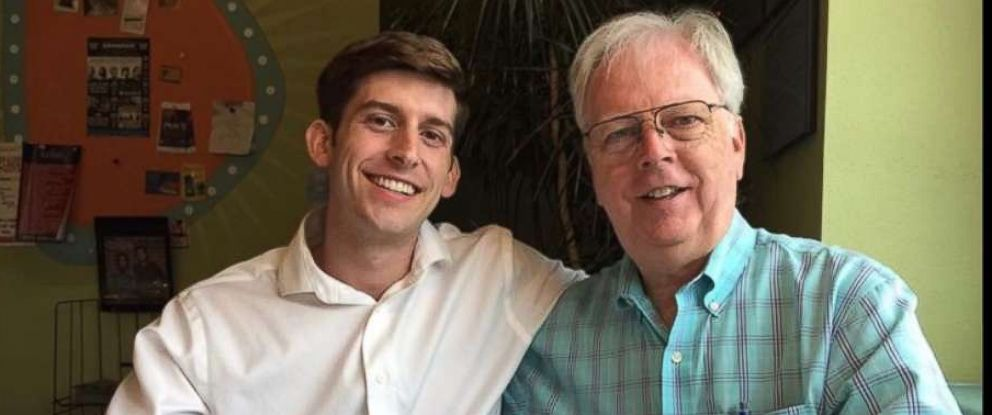 PHOTO: Trevor Cadigan, 26, a former intern at ABC station WFAA in Dallas, seen with his father Jerry Cadigan, died after a helicopter crashed into the East River and flipped upside down March 11, 2018.