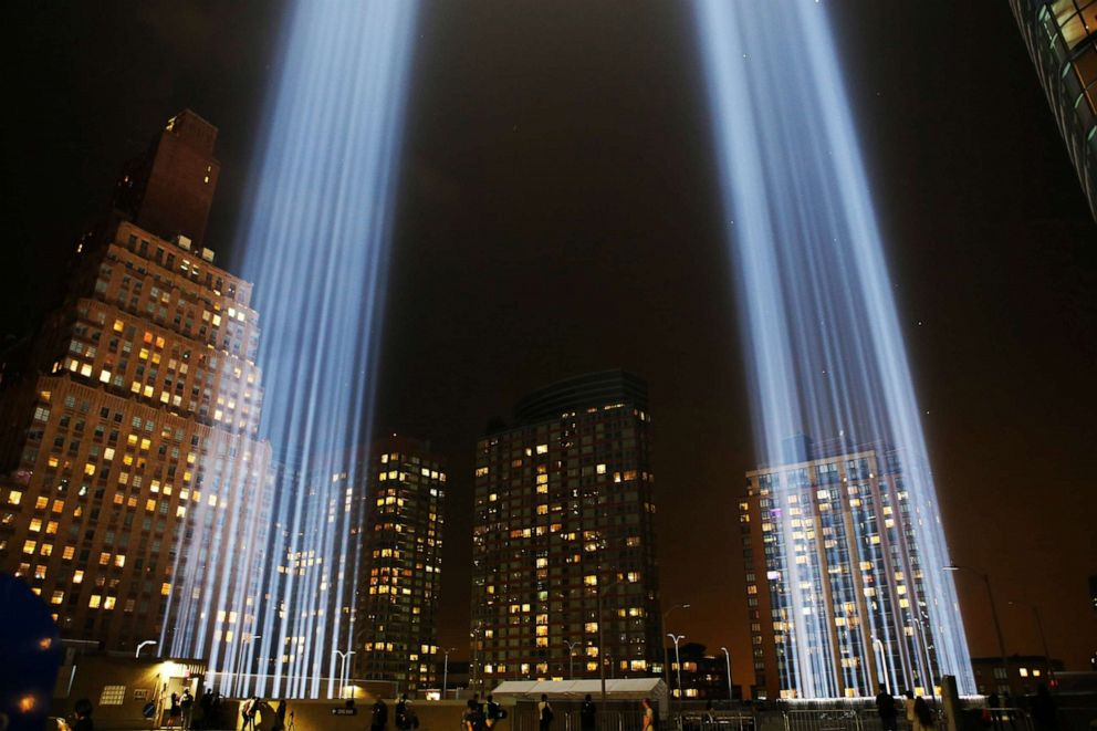PHOTO: The Tribute in Light marking the 17th anniversary of the 9/11 attacks is seen in New York on Sept. 11, 2018.