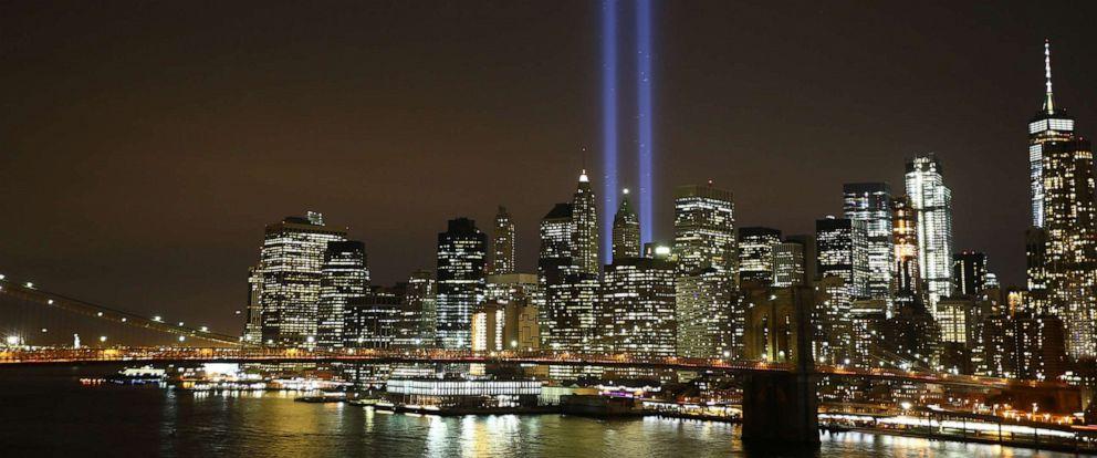 "PHOTO: 9/11 Memorial ""Tribute in Light"" is seen in Manhattan skyline from Brooklyn Bridge Park in Brooklyn, on September 11, 2017."
