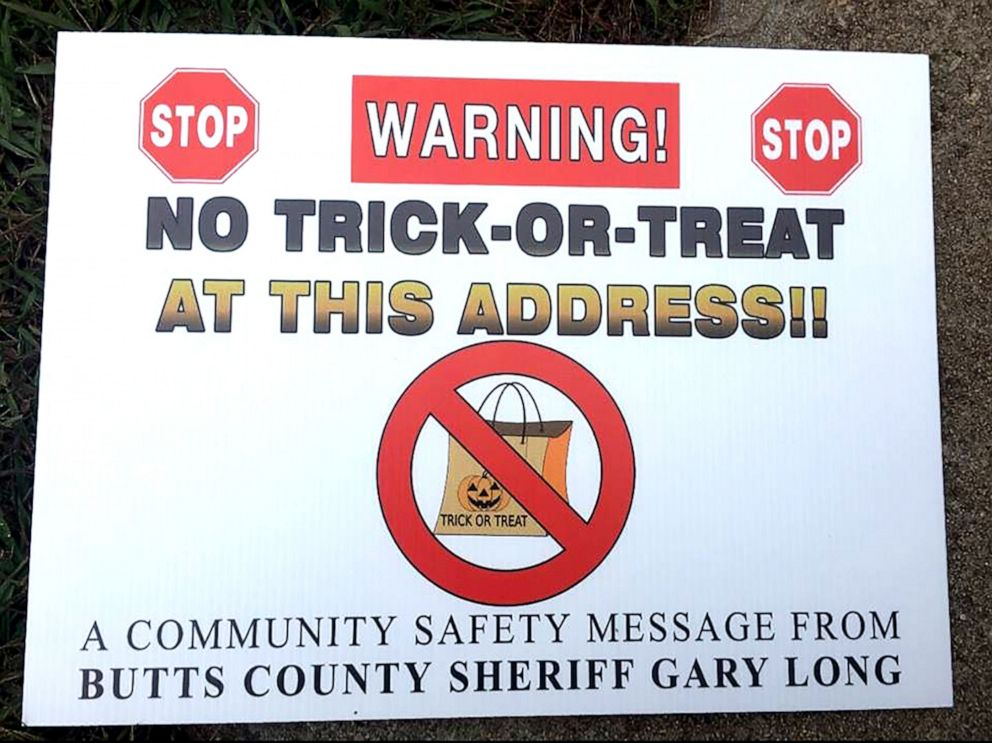 """PHOTO: The Butts County Sheriffs Office placed signs indicating """"No Trick or Treat"""" at each registered sex offender's residence in the County."""