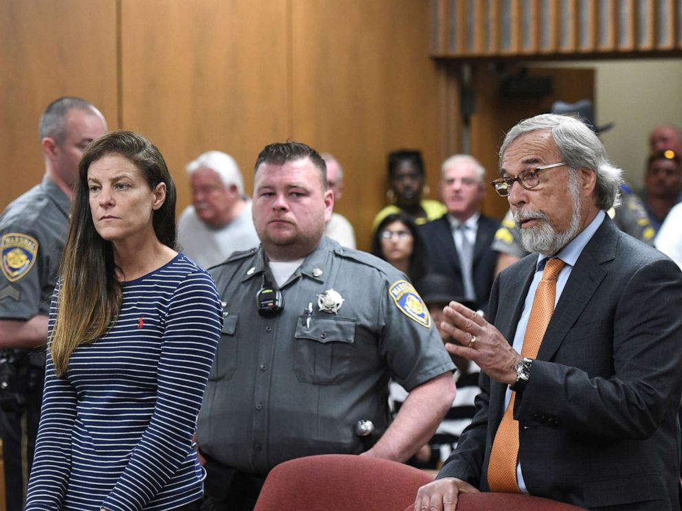 PHOTO: Attorney Andrew Bowman, right, speaks during the arraignment of his client Michelle C. Troconis, left, on charges of tampering with or fabricating physical evidence and first-degree hindering prosecution in court in Norwalk, Conn., June 3, 2019.