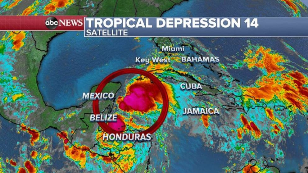 PHOTO: Tropical Depression 14 formed off the coast of Mexico early Sunday, Oct. 7, 2018.