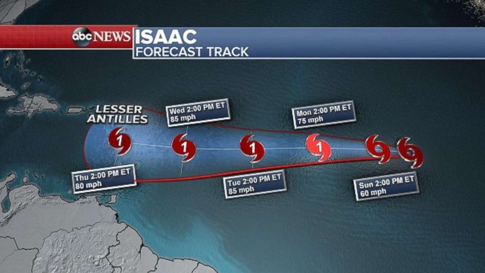 PHOTO: The ninth tropical depression of the season strengthened into Tropical Storm Isaac on Saturday.