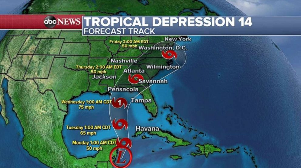 PHOTO: The path for Tropical Depression 14, which should strengthen into Tropical Storm Michael later Sunday, takes it into the Gulf Coast as a hurricane.