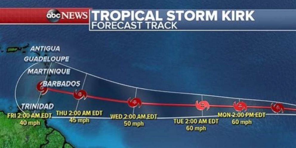 Tropical Storm Kirk formed Saturday, Sept. 22, 2018, and continues to move westward.