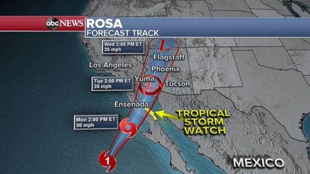 Rosa weakened to a tropical storm late Sunday as it approached Baja California.