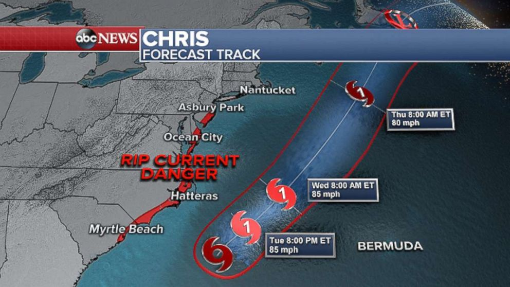 Tropical Storm Chris is expected to turn into a hurricane and travel up along the East Coast.