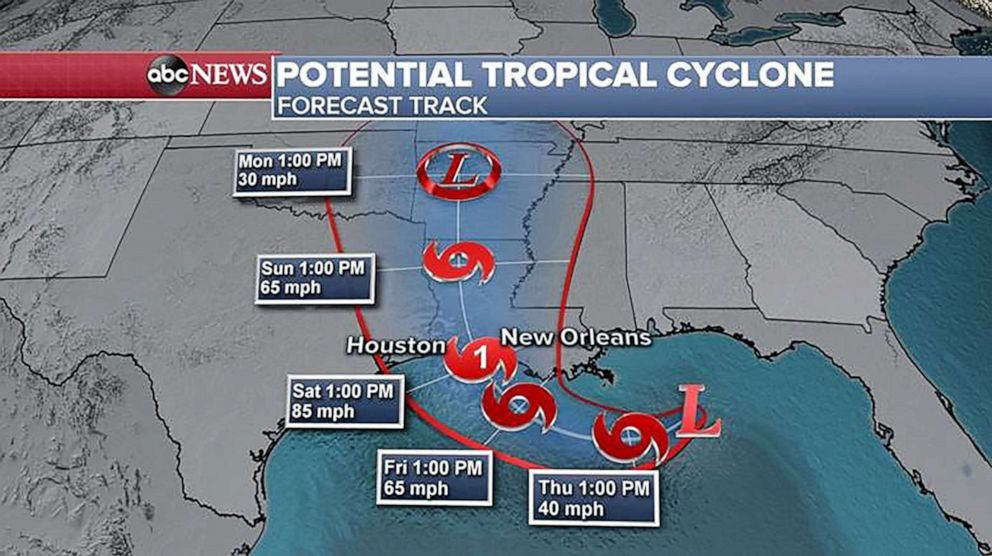 PHOTO: Forecast track for potential tropical cyclone.